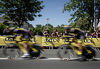 Team Direct Energie on speed.<br /> <br /> Stage 3 (Team Time Trial): Cholet > Cholet (35km)<br /> <br /> 105th Tour de France 2018<br /> ©kramon