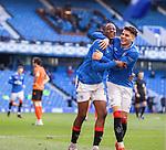 21.02.2021 Rangers v Dundee Utd: Joe Aribo celebrates with Ianis Hagi
