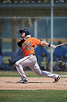 Baltimore Orioles Jerry McClanahan (65) follows through on a swing during a minor league Spring Training game against the Tampa Bay Rays on March 29, 2017 at the Buck O'Neil Baseball Complex in Sarasota, Florida.  (Mike Janes/Four Seam Images)