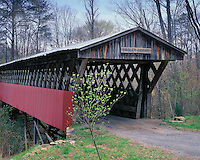 Foggy morning light on the Easley Covered bridge; Blount County, IN