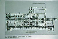 Plan of Houses of Parliament in London. Principal floor. Architects Pugin and Sir Charles Barry, 1836-67.