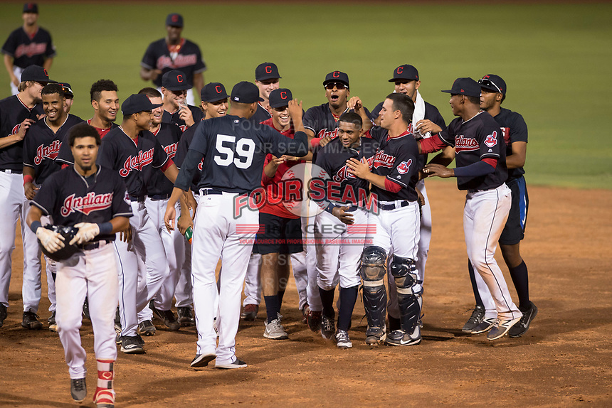 AZL Indians 1 designated hitter Jhan Rodriguez (10) stands on first base after hitting a single during an Arizona League game against the AZL White Sox at Goodyear Ballpark on June 20, 2018 in Goodyear, Arizona. AZL Indians 1 defeated AZL White Sox 8-7. (Zachary Lucy/Four Seam Images)
