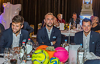 The Hague, The Netherlands, September 13, 2017,  Sportcampus , Davis Cup Netherlands - Chech Republic, Official Dinner, Chech table, Ltr: Jiri Vesely, Roman Jebavy and Adam Pavlasek.<br /> Photo: Tennisimages/Henk Koster