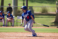 Los Angeles Dodgers infielder Jacob Amaya (12) follows through on his swing during an Instructional League game against the Chicago White Sox on September 30, 2017 at Camelback Ranch in Glendale, Arizona. (Zachary Lucy/Four Seam Images)
