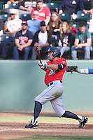 Zach Gibbons (23) of the Arizona Wildcats bats during a game against the UCLA Bruins at Jackie Robinson Stadium on May 16, 2015 in Los Angeles, California. UCLA defeated Arizona, 6-0. (Larry Goren/Four Seam Images)