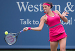 Madison Keys (USA) loses to Maria Sharapova (RUS) 6-1, 3-6, 6-3 at the Western & Southern Open in Mason, OH on August 12, 2014.