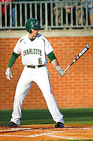Brett Lang (6) of the Charlotte 49ers at bat against the Delaware State Hornets at Robert and Mariam Hayes Stadium on February 15, 2013 in Charlotte, North Carolina.  The 49ers defeated the Hornets 13-7.  (Brian Westerholt/Four Seam Images)
