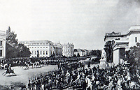 Berlin: Parade, Unter Den Linden, 1837. Painted by Franz Kruger, The Portraitist of Schinkel. SCHINKEL'S BERLIN. Reference only.