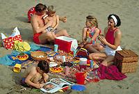 CAUCASIAN FAMILY PICNICKING AT THE BEACH. FAMILY. OAKLAND CALIFORNIA.