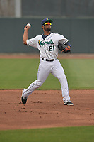 Cedar Rapids Kernels shortstop Ariel Montesino (21) in action during a game against the Beloit Snappers at Veterans Memorial Stadium on April 8, 2017 in Cedar Rapids, Iowa.  The Snappers won 7-6.  (Dennis Hubbard/Four Seam Images)