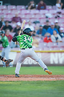Eugene Emeralds left fielder D.J. Artis (34) at bat during a Northwest League game against the Salem-Keizer Volcanoes at Volcanoes Stadium on August 31, 2018 in Keizer, Oregon. The Eugene Emeralds defeated the Salem-Keizer Volcanoes by a score of 7-3. (Zachary Lucy/Four Seam Images)