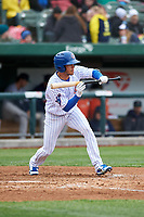 South Bend Cubs Rafael Narea (2) shows bunt during a Midwest League game against the Cedar Rapids Kernels at Four Winds Field on May 8, 2019 in South Bend, Indiana. South Bend defeated Cedar Rapids 2-1. (Zachary Lucy/Four Seam Images)