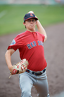 Salem Red Sox pitcher Matt Kent (15) during practice before the first game of a doubleheader against the Potomac Nationals on May 13, 2017 at G. Richard Pfitzner Stadium in Woodbridge, Virginia.  Potomac defeated Salem 6-0.  (Mike Janes/Four Seam Images)