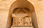 Jerusalem, Israel, Rockefeller Museum in East Jerusalem, a Roman marble  garland sarcophagus from the 3rd century A.D. found in Tel Mevorah.<br />