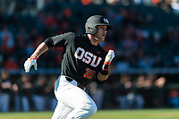 Oregon State Beavers pinch hitter Greg Fuchs (36) hustles towards first base during a game against the Gonzaga Bulldogs on February 16, 2019 at Surprise Stadium in Surprise, Arizona. Oregon State defeated Gonzaga 9-3. (Zachary Lucy/Four Seam Images)