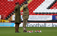 serviceman lay in wreath in the center of the pitch during Charlton Athletic vs Plymouth Argyle, Emirates FA Cup Football at The Valley on 7th November 2020