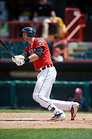 Erie SeaWolves catcher Grayson Greiner (21) follows through on a swing during a game against the Reading Fightin Phils on May 18, 2017 at UPMC Park in Erie, Pennsylvania.  Reading defeated Erie 8-3.  (Mike Janes/Four Seam Images)