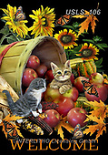 Lori, REALISTIC ANIMALS, REALISTISCHE TIERE, ANIMALES REALISTICOS, zeich, paintings+++++3-KittiesandApples2,USLS106,#a#, EVERYDAY ,puzzle,puzzles