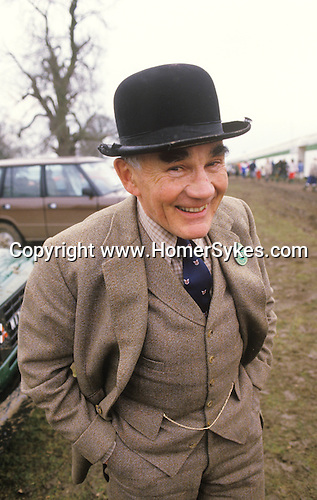 Tweed suit and bowler hat at the Badminton Horse trials Gloucestershire England. The gent is George Saunders a steward who could usually be found in the Collecting Ring at Badminton.