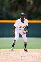 GCL Pirates shortstop Victor Ngoepe (5) during a game against the GCL Braves on August 10, 2016 at Pirate City in Bradenton, Florida.  GCL Braves defeated the GCL Pirates 5-1.  (Mike Janes/Four Seam Images)