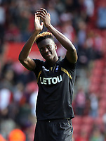 Tammy Abraham of Swansea City thanks away supporters at the end of the game during the Premier League match between Southampton and Swansea City at the St Mary's Stadium, Southampton, England, UK. Saturday 12 August 2017