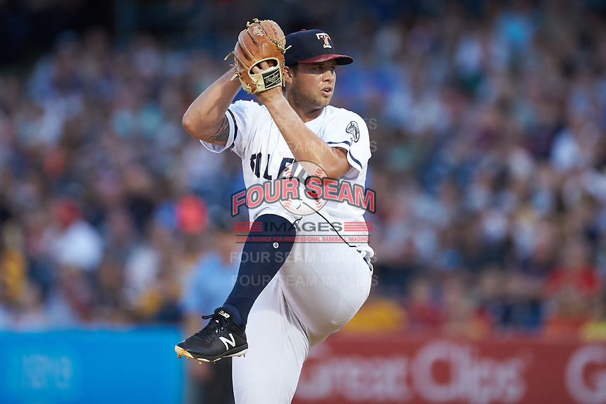 Toledo Mud Hens relief pitcher Zac Houston (25) in action against the Louisville Bats at Fifth Third Field on June 16, 2018 in Toledo, Ohio. The Mud Hens defeated the Bats 7-4.  (Brian Westerholt/Four Seam Images)