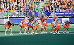 The Hague, Netherlands, June 05: Cheerleaders perform before the field hockey group match (Women - Group A) between New Zealand and The Netherlands on June 5, 2014 during the World Cup 2014 at Kyocera Stadium in The Hague, Netherlands. Final score 0-2 (0-2) (Photo by Dirk Markgraf / www.265-images.com) *** Local caption ***