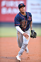 Bowling Green Hot Rods Pedro Martinez (17) tracks down a fly ball during a game against the Asheville Tourists on May 25, 2021 at McCormick Field in Asheville, NC. (Tony Farlow/Four Seam Images)