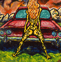 Girl in fron of Car. Acrylic on Board. 4' X 4' 1998.