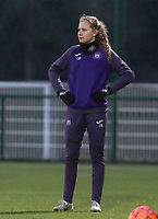 Jarne Teulings (16) of Anderlecht pictured during the warm up before a female soccer game between Oud Heverlee Leuven and RSC Anderlecht on the 12 th matchday of the 2020 - 2021 season of Belgian Womens Super League , sunday 31 st of January 2021  in Heverlee , Belgium . PHOTO SPORTPIX.BE | SPP | SEVIL OKTEM