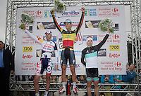 Heistse Pijl 2013<br /> <br /> podium with Tom Boonen (BEL) victorious, Kenny Dehaes (BEL) 2nd & Sean De Bie (BEL) 3rd