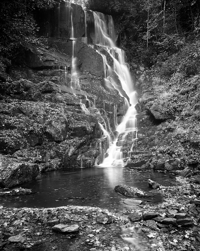 """""""Eastatoe Falls""""<br /> Pisgah National Forest <br /> Rosman, North Carolina<br />  2014<br /> <br /> One of the finest waterfalls near the Blue Ridge Parkway is on private property near Rosman.  After parking your vehicle off the drive, proceed along the grassy path.  Rustic signs point visitors in the right direction.  The easy trail takes you past a suspension bridge that leads to a cozy tree house.  Imagine sitting there listening to the cascading waters and watching the wildlife!  At the end of the 200 yard path, the waterfall takes center stage.  Eastatoe Falls has a broken drop of about 50 feet that then courses down to Shoal Creek.<br /> <br /> <br /> 4 x 5 Large Format Film"""