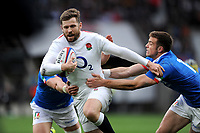 Elliot Daly of England breaks though the Italian defence during the Guinness Six Nations match between England and Italy at Twickenham Stadium on Saturday 9th March 2019 (Photo by Rob Munro/Stewart Communications)