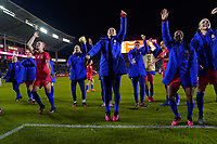 CARSON, CA - FEBRUARY 7: Players including Becky Sauerbrunn #4, Ali Krieger #11, Crystal Dunn #19, and Abby Dahlkemper #7 of the United States celebrate during a game between Mexico and USWNT at Dignity Health Sports Park on February 7, 2020 in Carson, California.