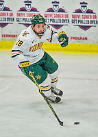 21 February 2015:  University of Vermont Catamount Forward Anthony Petruzzelli, a Freshman from Federal Way, WA, in first period action against the Merrimack College Warriors at Gutterson Fieldhouse in Burlington, Vermont. The teams played to a scoreless tie as the Cats wrapped up their Hockey East regular home season. Mandatory Credit: Ed Wolfstein Photo *** RAW (NEF) Image File Available ***