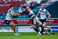 3rd January 2021; Welford Road Stadium, Leicester, Midlands, England; Premiership Rugby, Leicester Tigers versus Bath Rugby; Jaco Taute of Leicester Tigers attempts to break through the Bath Rugby defence