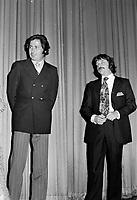 """Premiere du film """"Deux femmes en or"""" au Capitol. <br />  Entre le 1er et le 7 juin 1970 -  Donald Pilon et Claude Fournier<br /> <br /> <br /> Photographe : Photo Moderne- Agence Quebec Presse"""