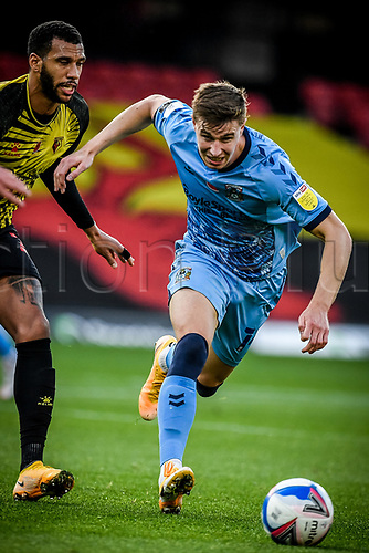 7th November 2020; Vicarage Road, Watford, Hertfordshire, England; English Football League Championship Football, Watford versus Coventry City; Ben Sheaf (Coventry City) breaks away from his marker