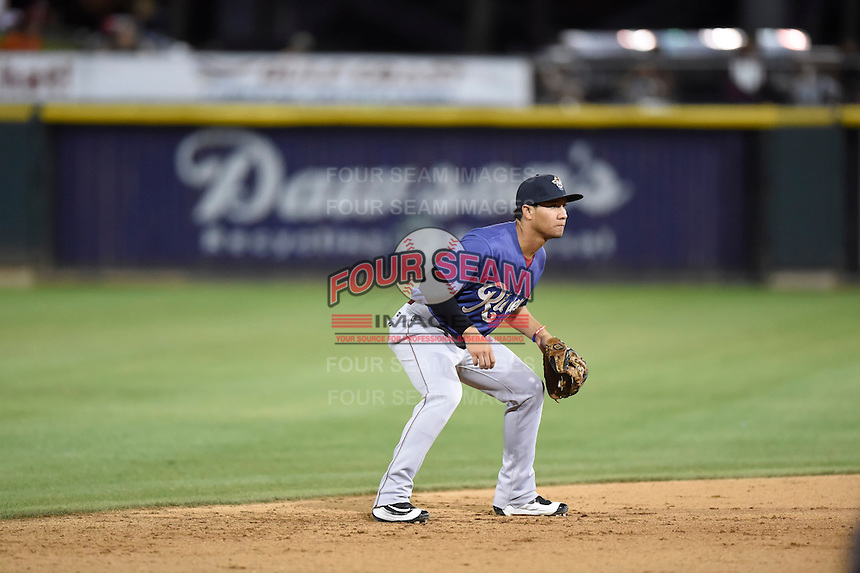 ***Temporary Unedited Reference File***Frisco RoughRiders shortstop Luis Mendez (1) during a game against the Corpus Christi Hooks on April 23, 2016 at Whataburger Field in Corpus Christi, Texas.  Corpus Christi defeated Frisco 3-2.  (Mike Janes/Four Seam Images)