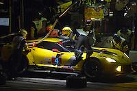 28-31 January, 2016, Daytona Beach, Florida USA<br /> 4, Chevrolet, Corvette C7, GTLM, Oliver Gavin, Tommy Milner, Marcel Fassler makes a pit stop.<br /> ©2016, F. Peirce Williams