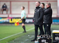 Lincoln City manager Michael Appleton, left, and Lincoln City's assistant manager David Kerslake in the technical area<br /> <br /> Photographer Chris Vaughan/CameraSport<br /> <br /> The EFL Sky Bet League One - Fleetwood Town v Lincoln City - Saturday 17th October 2020 - Highbury Stadium - Fleetwood<br /> <br /> World Copyright © 2020 CameraSport. All rights reserved. 43 Linden Ave. Countesthorpe. Leicester. England. LE8 5PG - Tel: +44 (0) 116 277 4147 - admin@camerasport.com - www.camerasport.com
