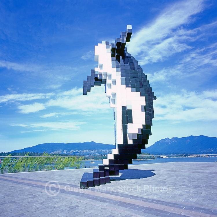"Killer Whale Sculpture, ""Digital Orca"" (artist Douglas Coupland) at Convention Centre West, Vancouver, BC, British Columbia, Canada"