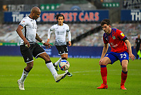 31st October 2020; Liberty Stadium, Swansea, Glamorgan, Wales; English Football League Championship Football, Swansea City versus Blackburn Rovers; Andre Ayew of Swansea City controls the ball while under pressure from Joe Rankin-Costello of Blackburn Rovers