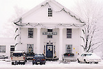 The Petersham Country Store in Petersham, Massachusetts on a snowy day