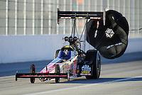Feb. 26, 2011; Pomona, CA, USA; NHRA top fuel dragster driver Doug Kalitta during qualifying at the Winternationals at Auto Club Raceway at Pomona. Mandatory Credit: Mark J. Rebilas-.