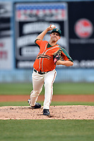 Greensboro Grasshoppers starting pitcher Michael King (34) delivers a pitch during a game against the Asheville Tourists at McCormick Field on April 27, 2017 in Asheville, North Carolina. The Tourists defeated the Grasshoppers 8-5. (Tony Farlow/Four Seam Images)