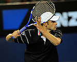 January 25, 2010T\.Andy Roddick, of the USA, in action defeating Fernando Gonzalez of Chile 6-3, 3-6, 4-6, 7-6, 6-2 in the fourth round of The Australian Open, Melbourne Park, Melbourne, Australia.