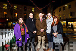 Niamh Hanley, Kevin McCarthy (Garveys Supervalu), Carmel Russell (Thats Perfect),  Billy Nolan (Billy Nolan (Nolan and Hilsers Jewellers) and Ken Tobin (Tralee Chamber of Alliance), Tralee business owners under the Christmas lights in the Square on Monday.