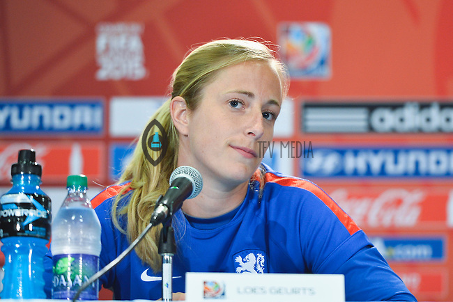 Netherlands' goal keeper Loes Geurts addresses press conference on the even of the opening Women's World Cup Soccer match, June 05, 2015 in Edmonton, Alberta. (Mo Khursheed/TFV Media via AP Images)