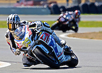 David Anthony (25) leads another rider during the AMA SuperBike motorcycle race at Daytona International Speedway, Daytona Beach, FL, March 2011.(Photo by Brian Cleary/www.bcpix.com)